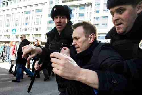 Opposition leader Alexei Navalny arrested during Sunday's protests (EPA)