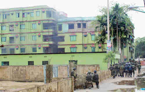 Apartment building in Sylhet where terror attack took place (ISPR)