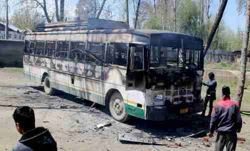 A burned out bus following an attack by separatists on Sunday (PTI)