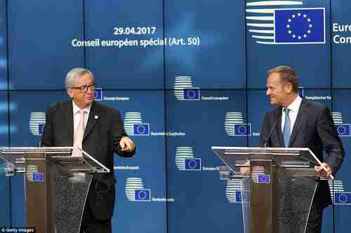 EU Commission President Jean-Claude J�ncker (left) and EU Council President Donald Tusk in Brussels on Saturday (Getty)