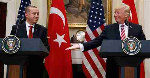 Erdogan and Trump after their meeting on Tuesday (AP)