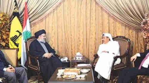Undated image of meeting between Hezbollah leader Sayyed Hassan Nasrallah and a Qatari official (al-Arabiya)