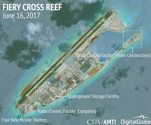 Fiery Cross Reef continues is the most advanced of China�s illegal bases, with new missile shelters, radar/communications facilities, and other infrastructure (AMTI)