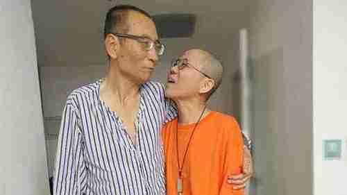 Iconic photo of Liu Xiaobo and his wife Liu Xia