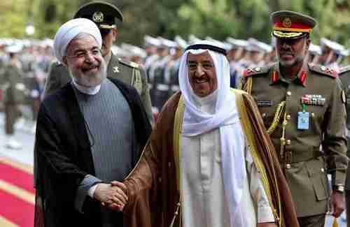 Iran's president Hassan Rouhani and Kuwait�s Emir Shaikh Jaber Al Ahmad Al Sabah at a meeting in February of this year