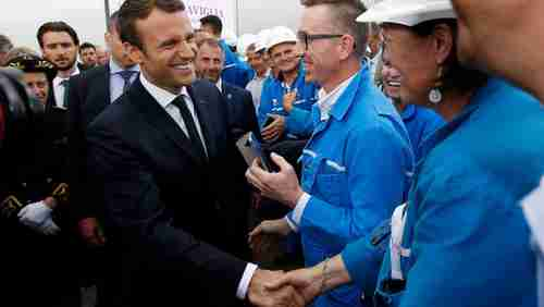Emmanuel Macron visits STX shipyard in May during election campaign (Reuters)