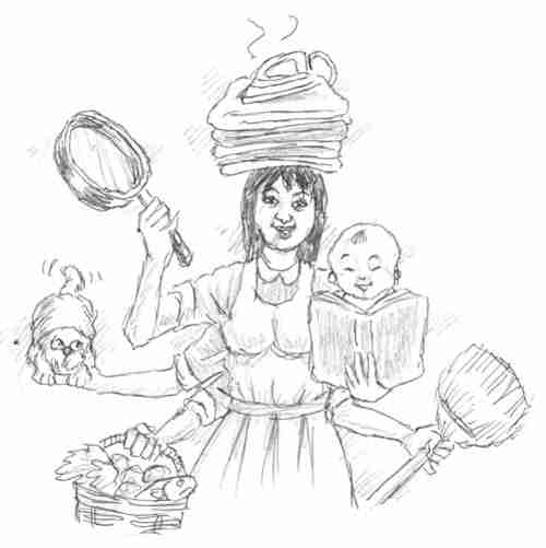 Cartoon showing Filipina maid in China (Global Times)