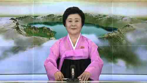 The giggling North Korean news reader Ri Chun-Hee announces the nuclear test