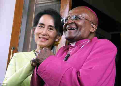 Since this photo was taken, Desmond Tutu has condemned Aung San Suu Kyi over the ethnic cleansing of Rohingya Muslims in Burma (AP)