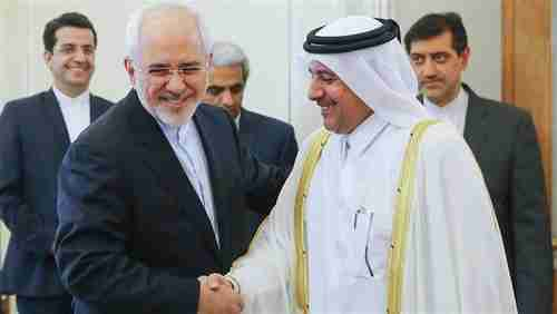 Iran's foreign minister Javad Zarif (L) meets with Qatar's ambassador in Tehran on Monday.  Close relations between Iran and Qatar are at the center of the Gulf crisis (Tehran Times)