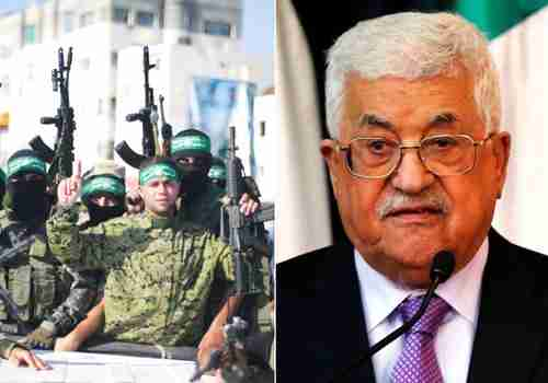 Mahmoud Abbas (R) and Hamas members (L) (Reuters)
