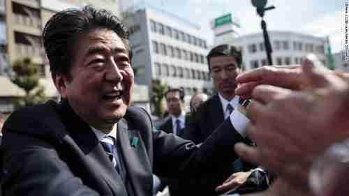 Japan's Shinzo Abe campaigning (CNN)