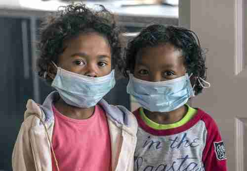 Children are required to wear face masks at school in Antananarivo, Madagascar's capital city (AP)