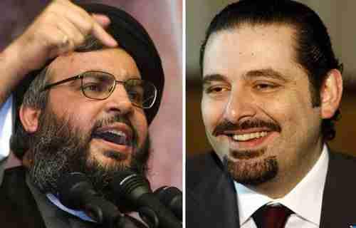 Lebanon's Hezbollah leader Sayyed Hassan Nasrallah (L) and former prime minister Saad Hariri (R)