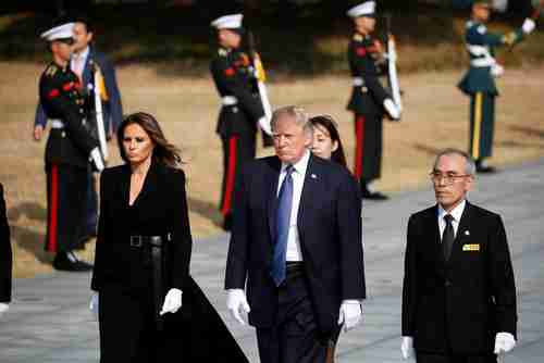 Donald and Melania Trump in South Korea on Wednesday (Reuters)