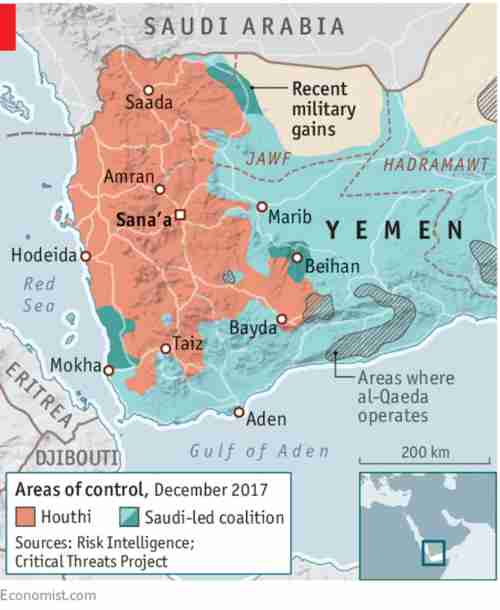 Map of Yemen showing areas controlled by Houthis, Saudi-led coalition, and al-Qaeda (Economist)