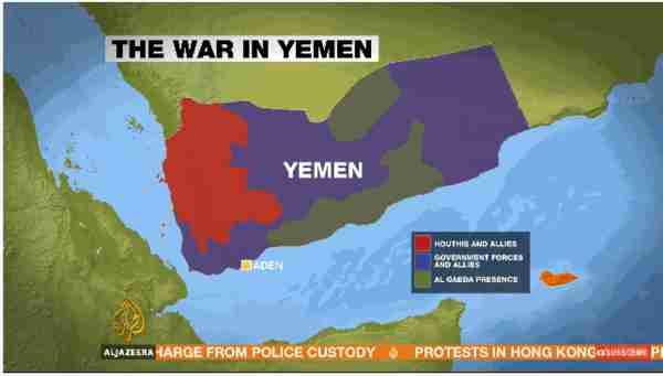 Map of Yemen showing regions held by Houthis and allies, Government forces and allies, and al-Qaeda presence (al-Jazeera)