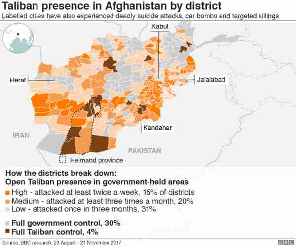 Taliban presence in Afghanistan districts (BBC)