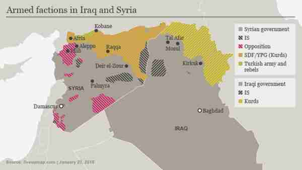 Map of Syria and Iraq showing areas of control (Deutsche Welle)