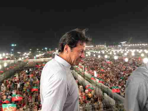 Imran Khan at Sunday's rally in Lahore, Pakistan (Daily Pakistan)