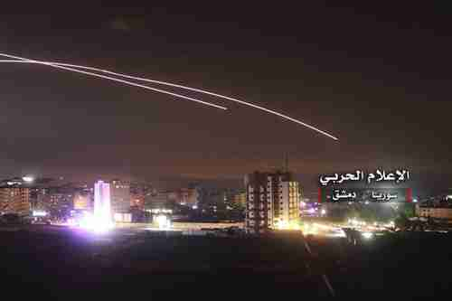 Syrian anti-aircraft missiles in the sky over Damascus on Thursday morning in response to Israeli missile attacks (AP)