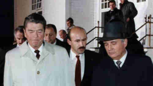 Ronald Reagan (L) and Mikhail Gorbachev (R) leave 1986 summit meeting after it collapses in mutual recriminations and accusations of bad faith and lying (ADST)