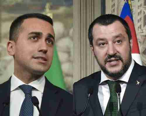 Five-Star Movement leader Luigi Di Maio, left, and La Lega leader Matteo Salvini (AFP)