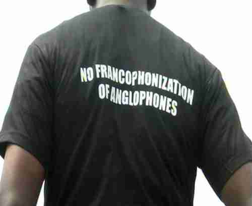 Youth wearing a T-shirt protesting the 'Francophonization' of Anglophones (Deutsche Welle)