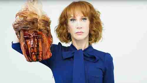 Celebrity Kathy Griffin and her bloody Donald Trump head
