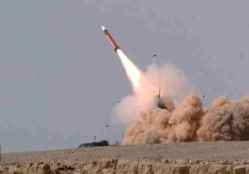 A Patriot Missile launched in southern Israel on Friday afternoon hit an incoming Syrian drone as it crossed the border into Israel (Reuters)
