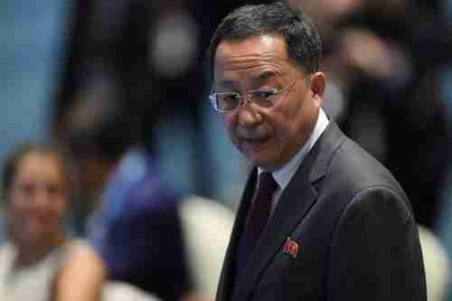 North Korea foreign minister Ri Yong Ho slammed the Trump administration for refusing to lift sanctions (AFP)
