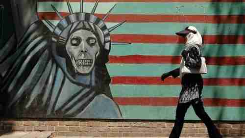 A mural painting on the wall of the former US embassy in Tehran, where the 1980 Iranian hostage crisis originally occurred (AFP)