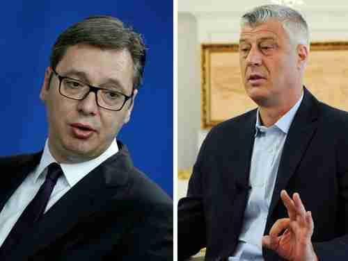 Serbia president Aleksandar Vucic and Kosovo president Hashim Thaci (Reuters)