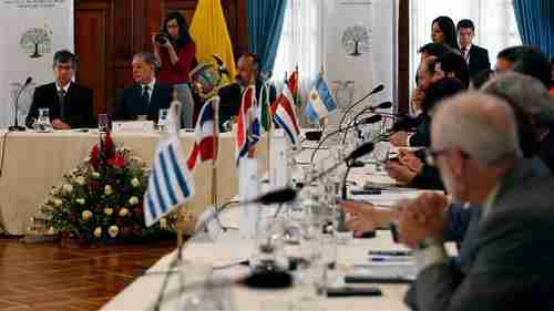 Latin American countries meeting in Quito on Tuesday (AFP)
