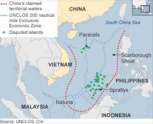 China's 'nine-dash line' encompasses the entire South China Sea, going as far away as Indonesia's Natuna Island, which is nowhere near China (BBC)