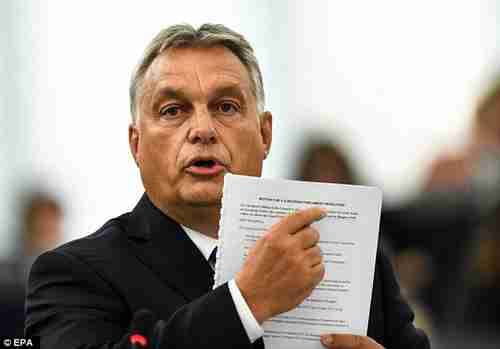 Hungary's Prime Minister Viktor Orbán points to a document during Tuesday's speech to European Parliament (EPA)