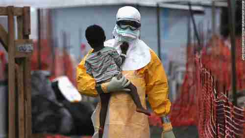 Ebola health worker in DR Congo (CNN)