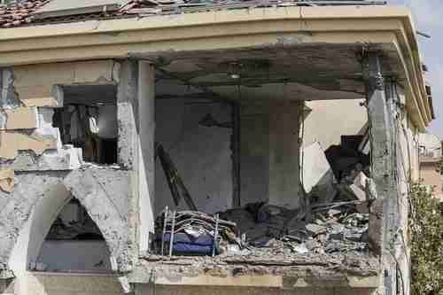 Destroyed house after being hit by rocket on Tuesday morning in Beersheba (AP)