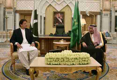 Pakistan prime minister Imran Khan meets Saudi King Salman (MBS's father) on Tuesday in Riyadh (AFP)