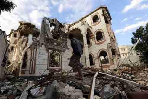 Building in Sanaa destroyed by an airstrike last week (EPA)