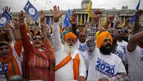 Sikh radical pro-Khalistan supporters in Trafalgar Square, London, in August (AFP)