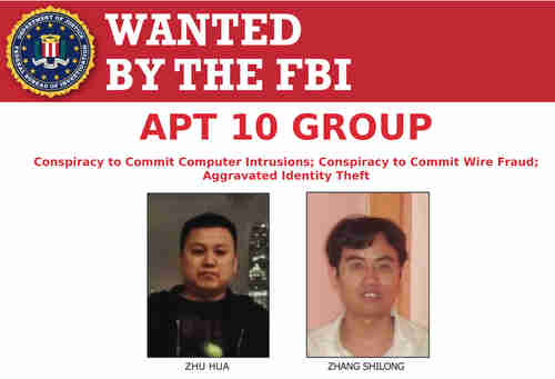 Poster showing Chinese hackers displayed at Justice Dept. press conference on Thursday