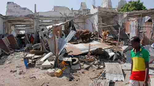 Site of Mogadishu bombing on Saturday (AP)
