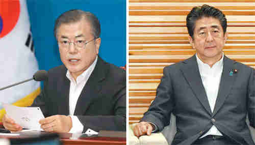 South Korea's president Moon Jae-in and Japan's prime minister Shinzo Abe