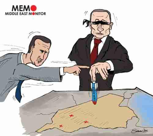 An Arab cartoon expressing the view that Vladimir Putin blindly bombs wherever Bashar al-Assad tells him, making Putin the puppet of puppetmaster al-Assad (Mideast Monitor)