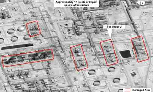 This image provided by the US government and DigitalGlobe shows damage to the infrastructure at Saudi Aramco�s Abqaiq oil processing facility in Buqyaq. (AP)