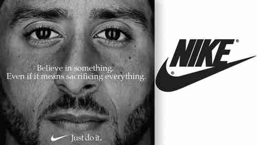 Nike ad in 2018, part of its laughable 'Social Justice Leadership' program, showing Colin Kaepernick saying, 'Believe in something.  Even if it means sacrificing everything.  Just do it.'