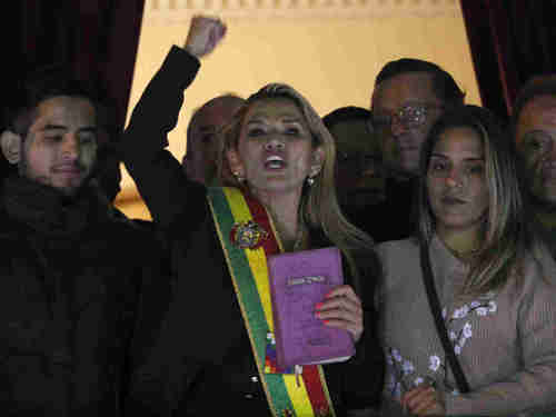 Opposition politician Jeanine ��ez, who declared herself interim president of Bolivia after resignation of Evo Morales (AP)