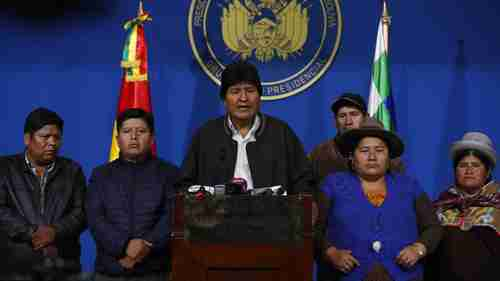 Bolivia's far-left president Evo Morales announced his resignation on national television on Sunday (AP)