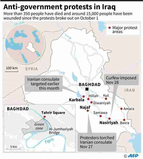 Map of Iraq showing locations of anti-government, anti-Iran protests (AFP)